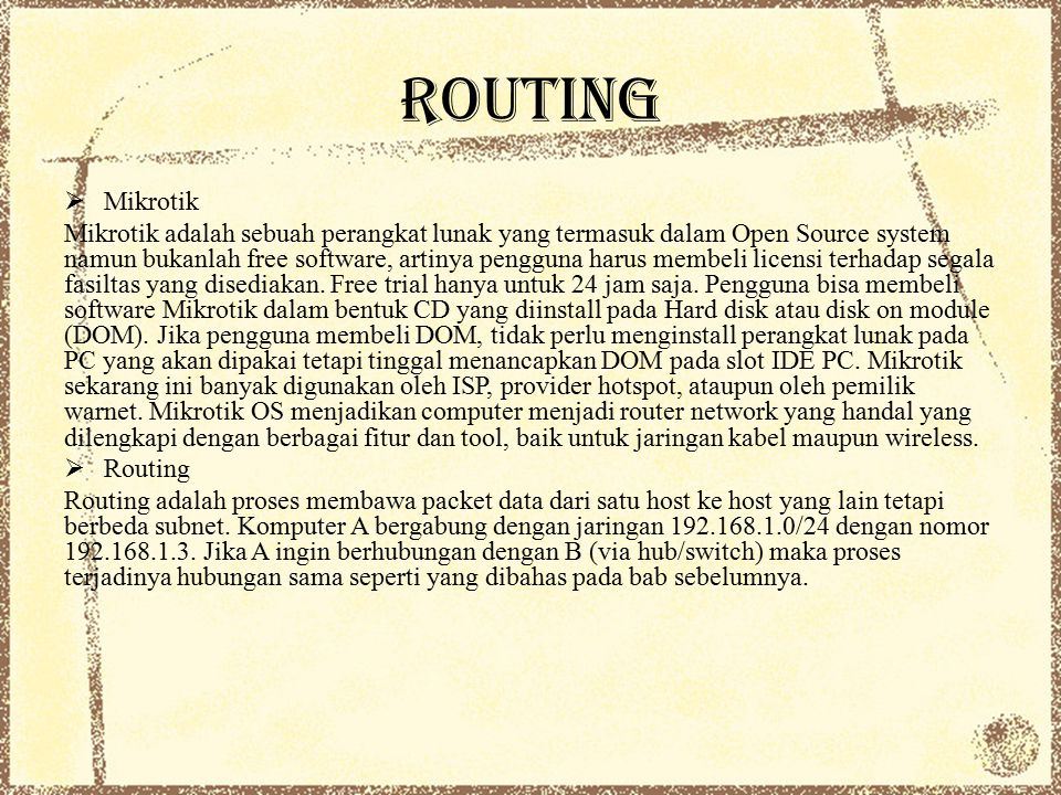 ROUTING Mikrotik.
