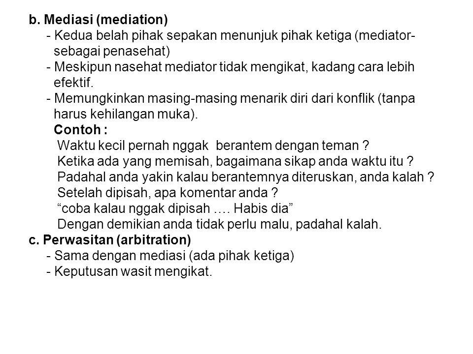 b. Mediasi (mediation) - Kedua belah pihak sepakan menunjuk pihak ketiga (mediator- sebagai penasehat)