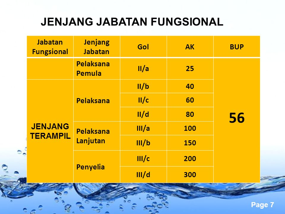 56 JENJANG JABATAN FUNGSIONAL Jabatan Fungsional Jenjang Jabatan Gol
