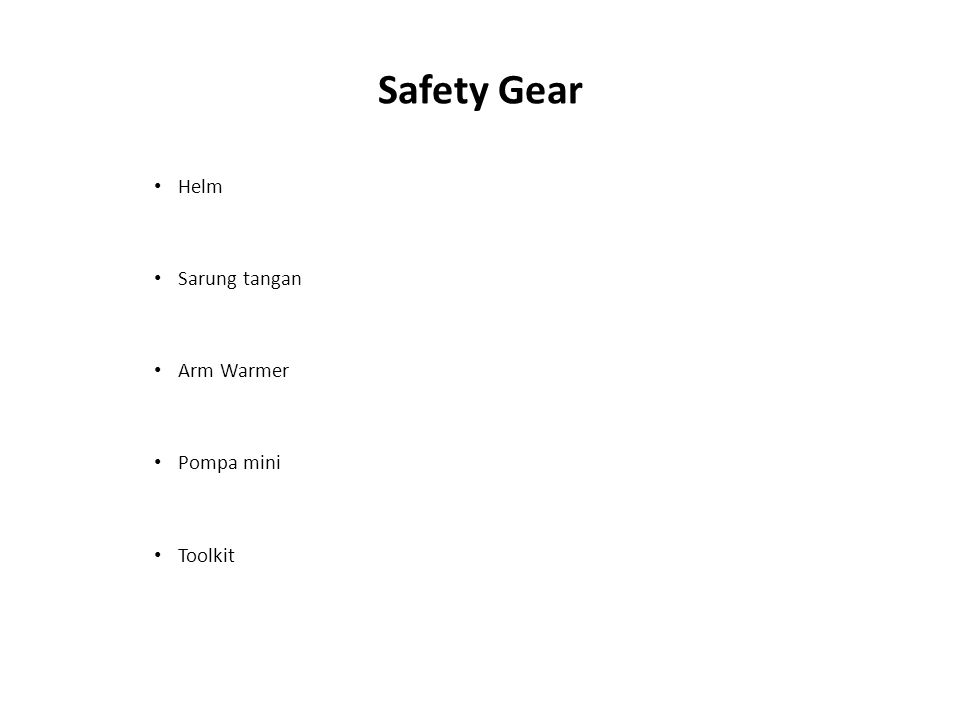 Safety Gear Helm Sarung tangan Arm Warmer Pompa mini Toolkit