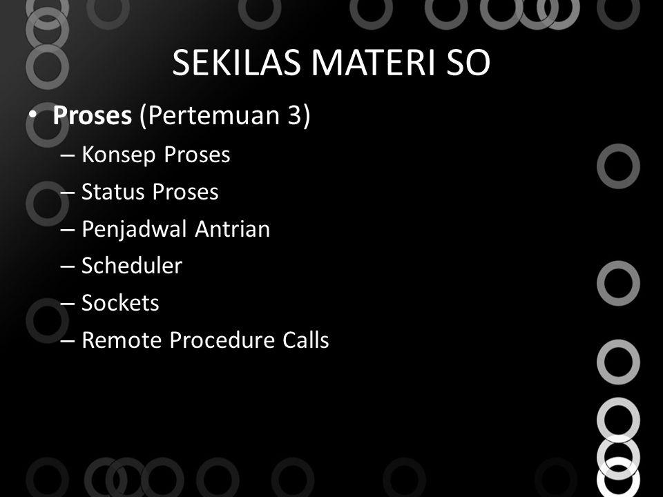 SEKILAS MATERI SO Proses (Pertemuan 3) Konsep Proses Status Proses