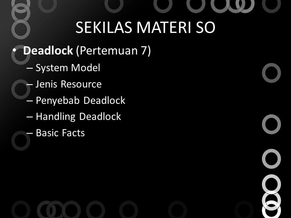 SEKILAS MATERI SO Deadlock (Pertemuan 7) System Model Jenis Resource