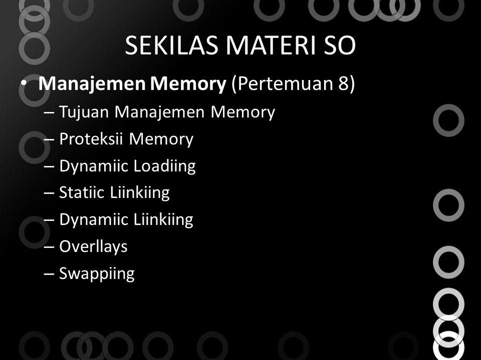 SEKILAS MATERI SO Manajemen Memory (Pertemuan 8)