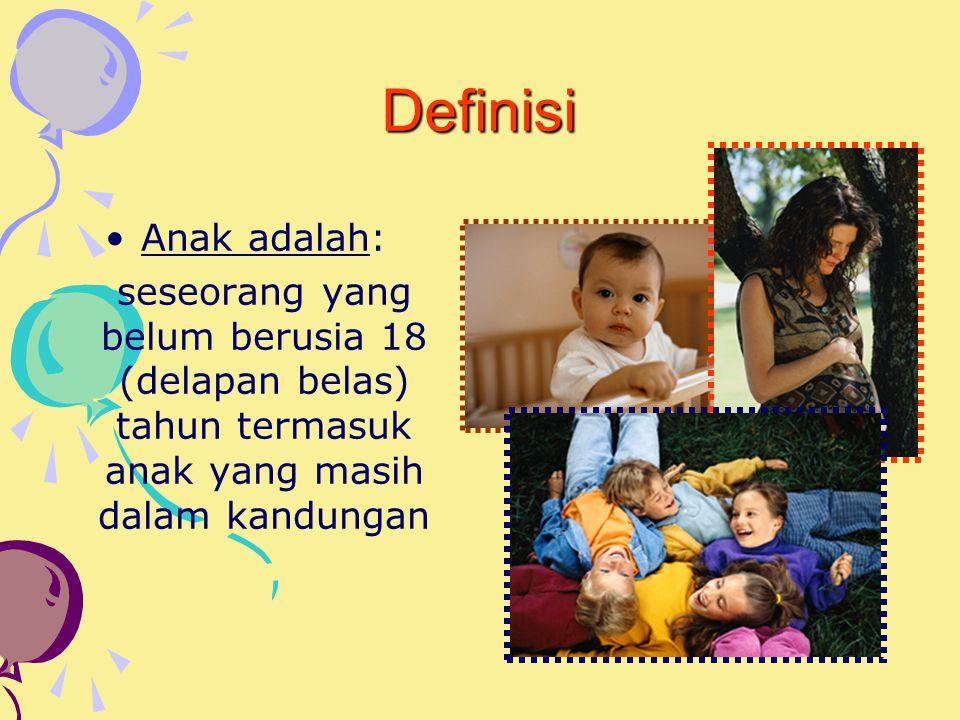 Definisi Anak adalah: seseorang yang belum berusia 18 (delapan belas) tahun termasuk anak yang masih dalam kandungan.
