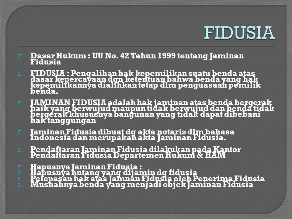 FIDUSIA Dasar Hukum : UU No. 42 Tahun 1999 tentang Jaminan Fidusia