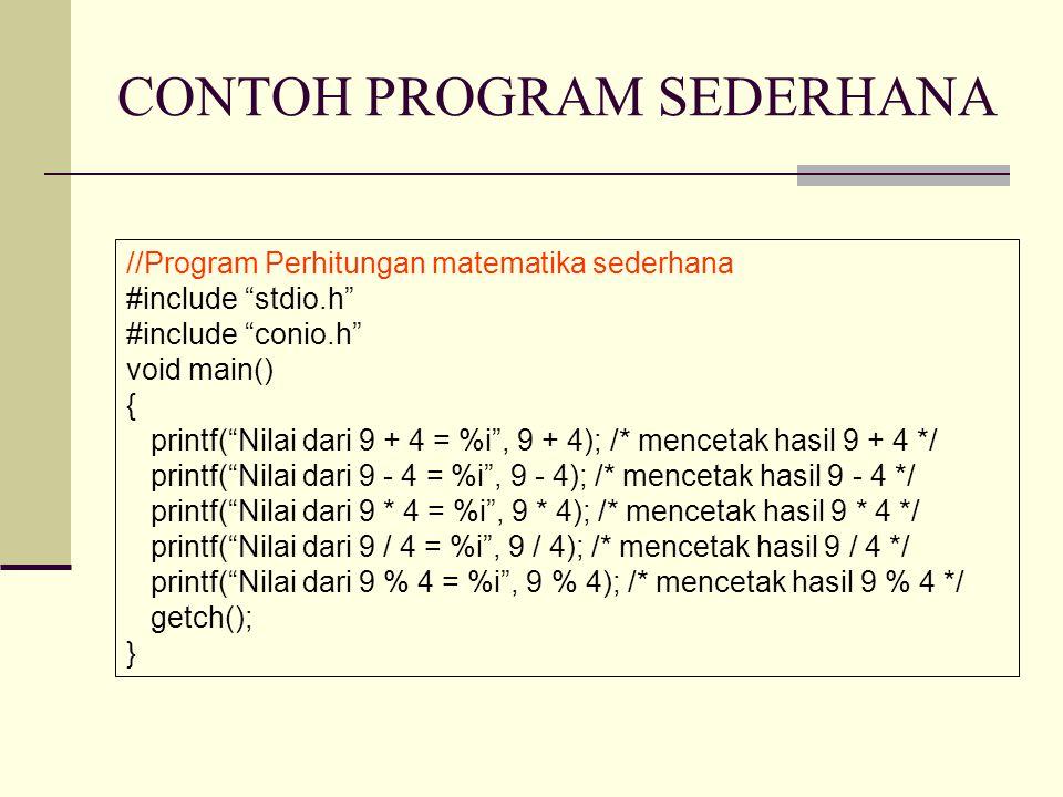 CONTOH PROGRAM SEDERHANA