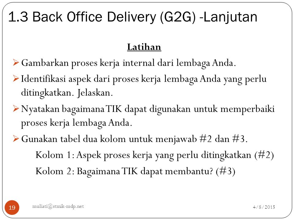 1.3 Back Office Delivery (G2G) -Lanjutan