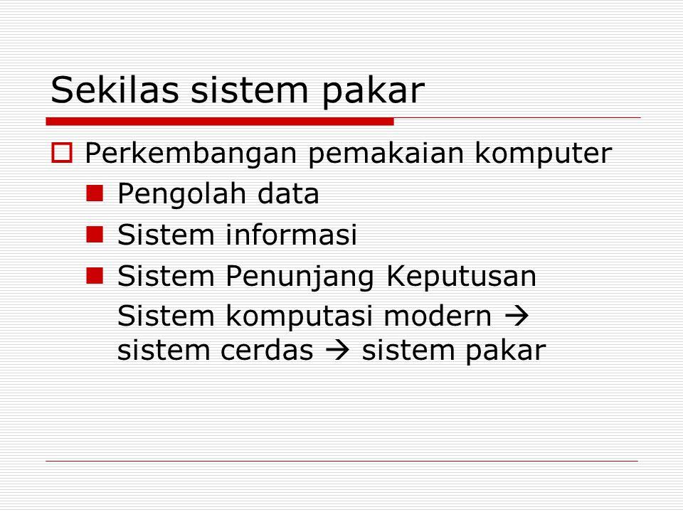 Sekilas sistem pakar Perkembangan pemakaian komputer Pengolah data