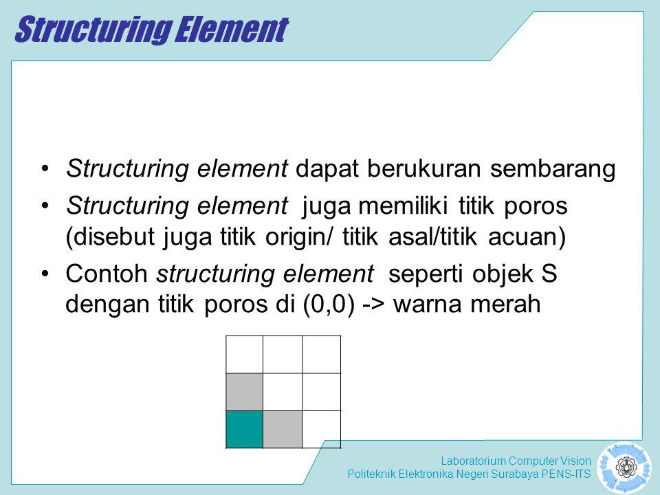 Structuring Element Structuring element dapat berukuran sembarang