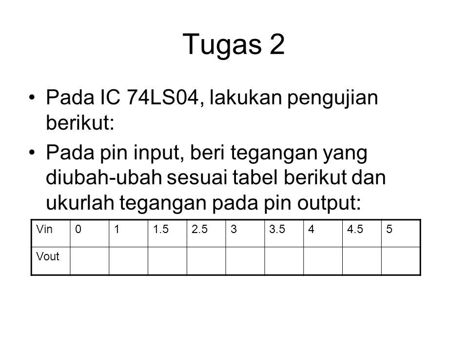 Tugas 2 Pada IC 74LS04, lakukan pengujian berikut: