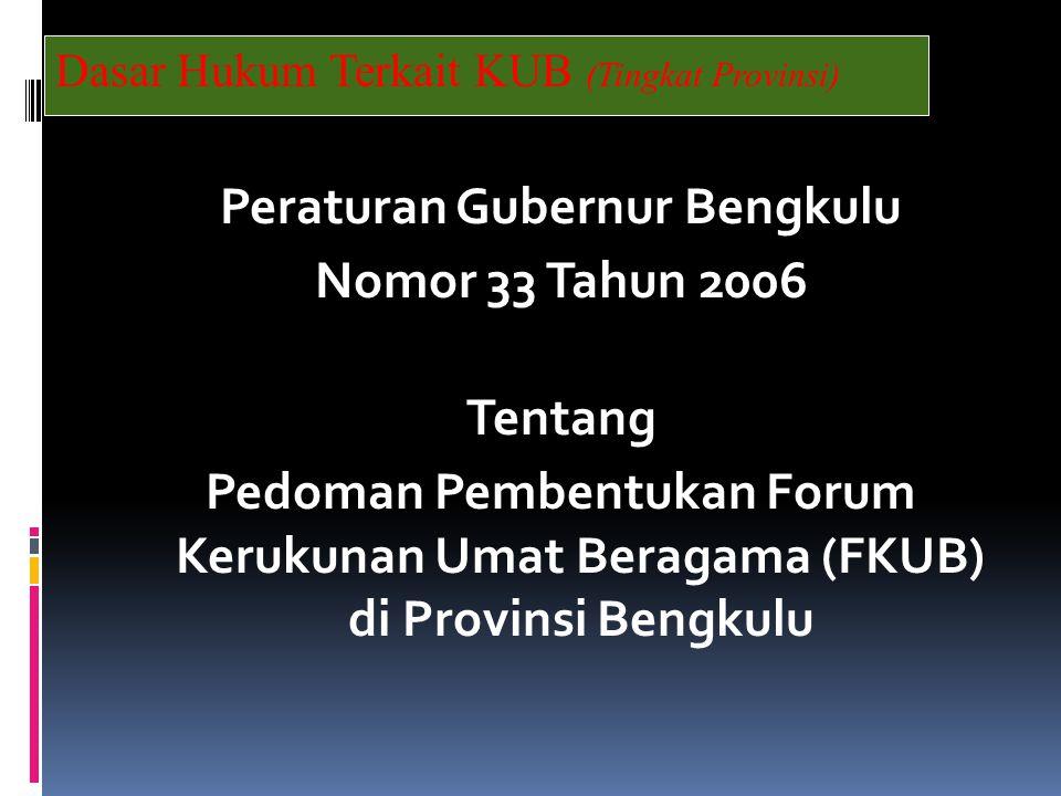Dasar Hukum Terkait KUB (Tingkat Provinsi)