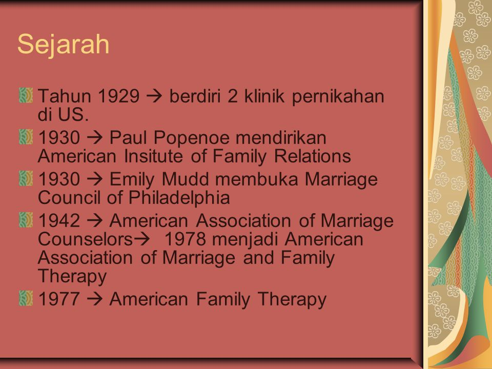 Sejarah Tahun 1929  berdiri 2 klinik pernikahan di US.