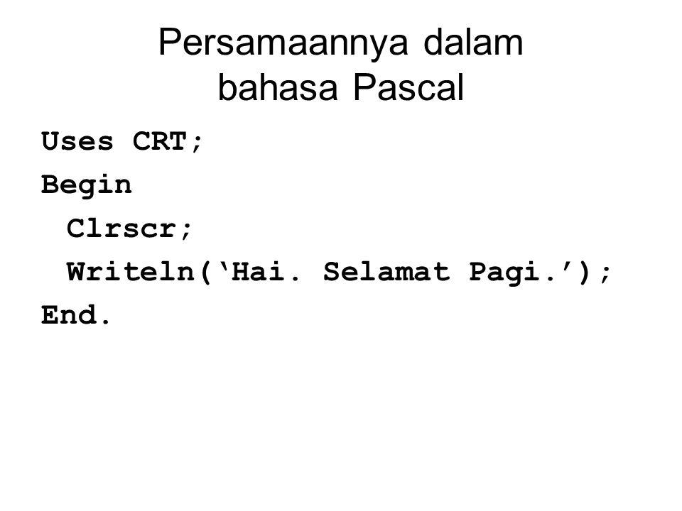Persamaannya dalam bahasa Pascal