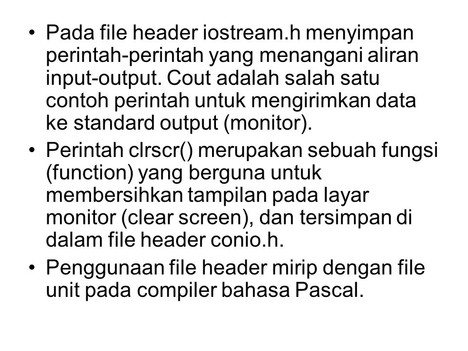 Pada file header iostream