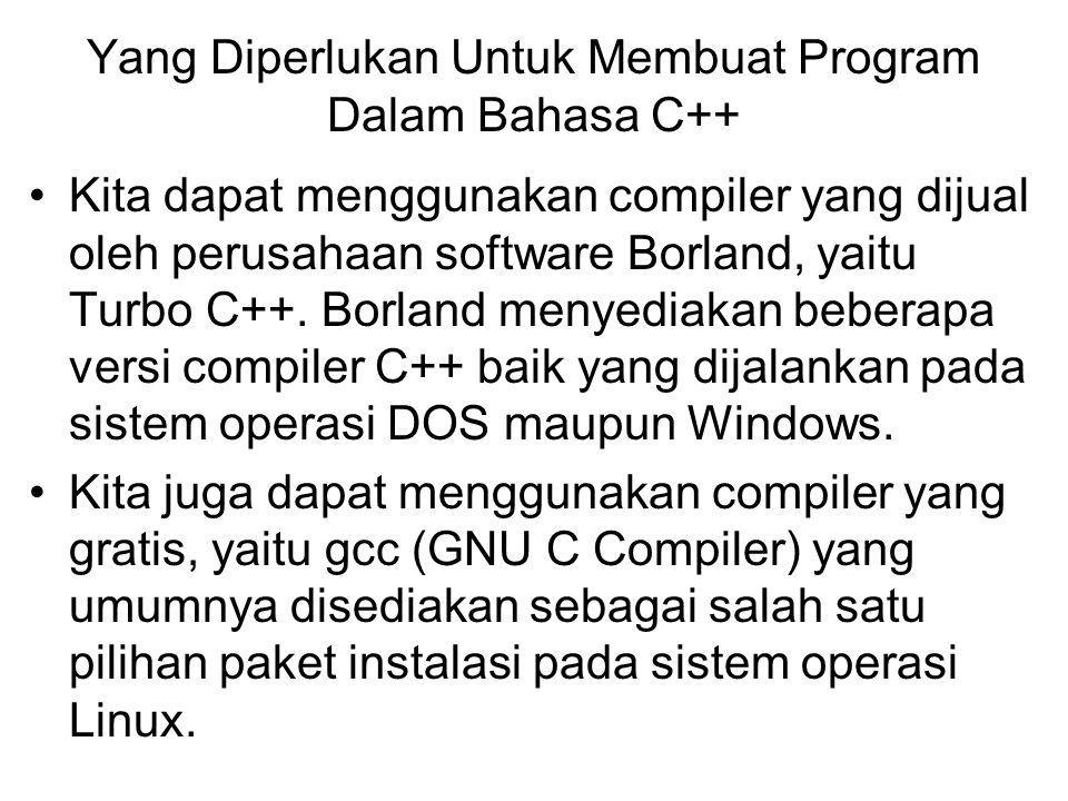 Yang Diperlukan Untuk Membuat Program Dalam Bahasa C++