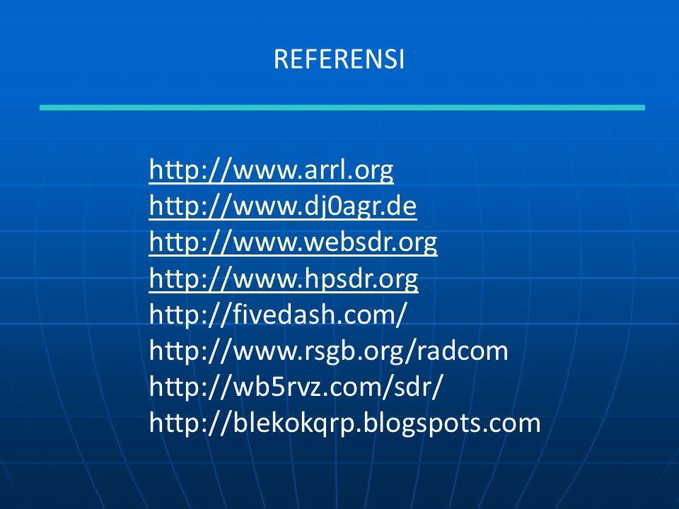 REFERENSI http://www.arrl.org. http://www.dj0agr.de. http://www.websdr.org. http://www.hpsdr.org.