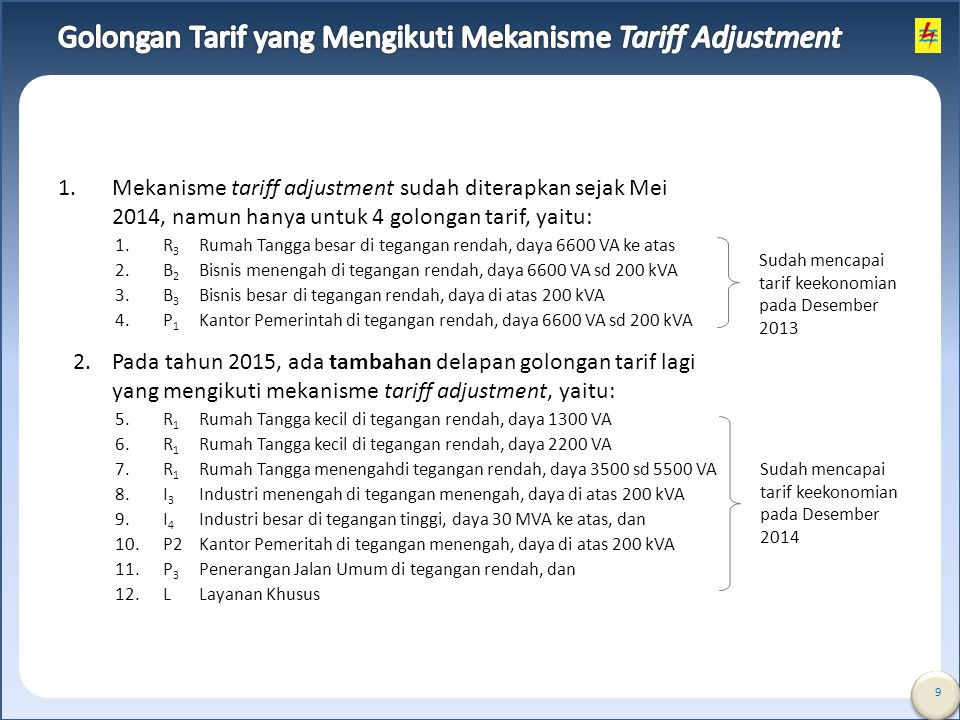 Golongan Tarif yang Mengikuti Mekanisme Tariff Adjustment