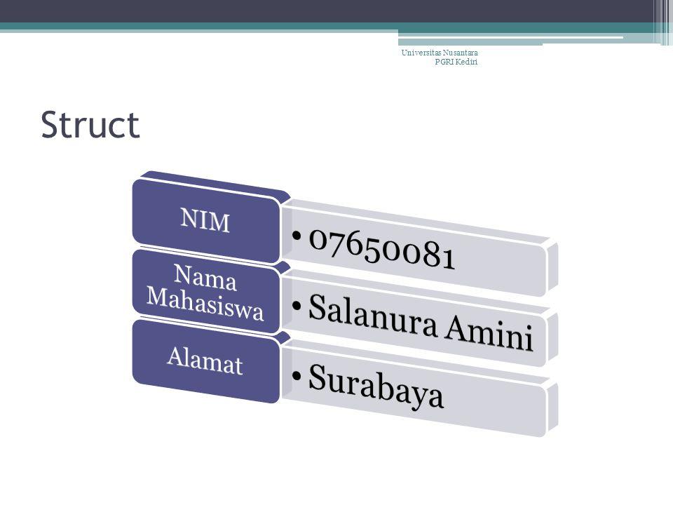 Struct Universitas Nusantara PGRI Kediri NIM 07650081 Nama Mahasiswa