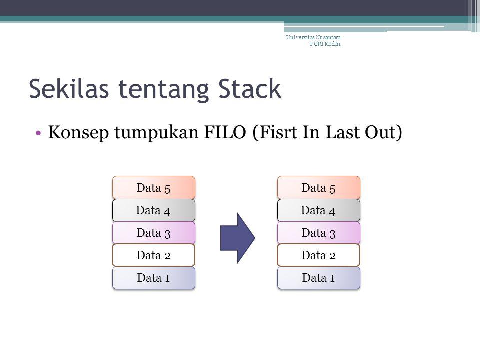 Sekilas tentang Stack Konsep tumpukan FILO (Fisrt In Last Out) Data 5