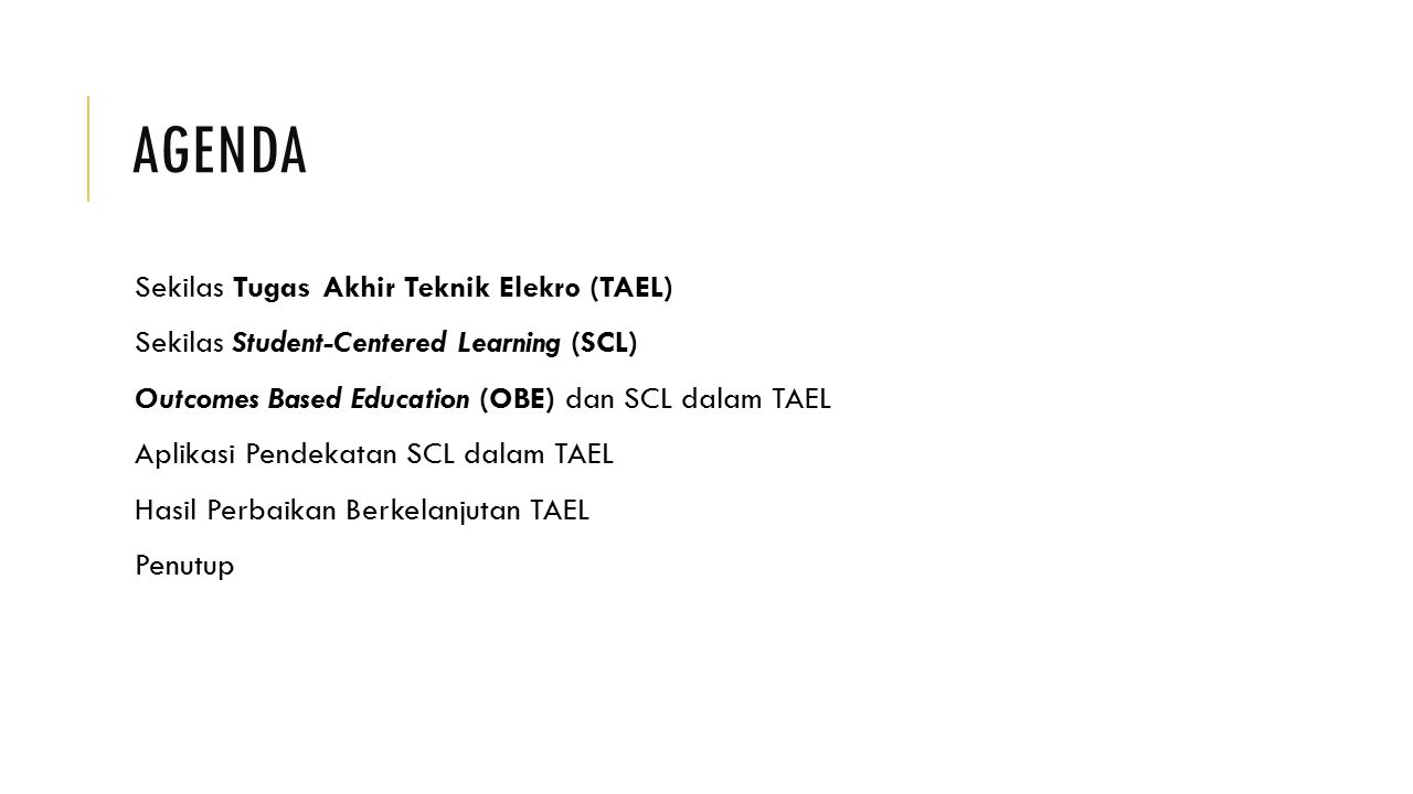 Agenda Sekilas Tugas Akhir Teknik Elekro (TAEL)