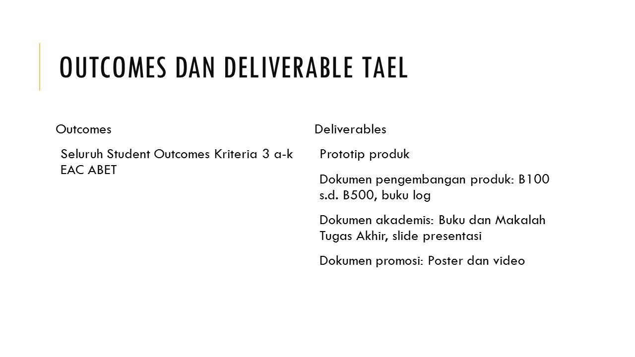 Outcomes dan Deliverable TAEL