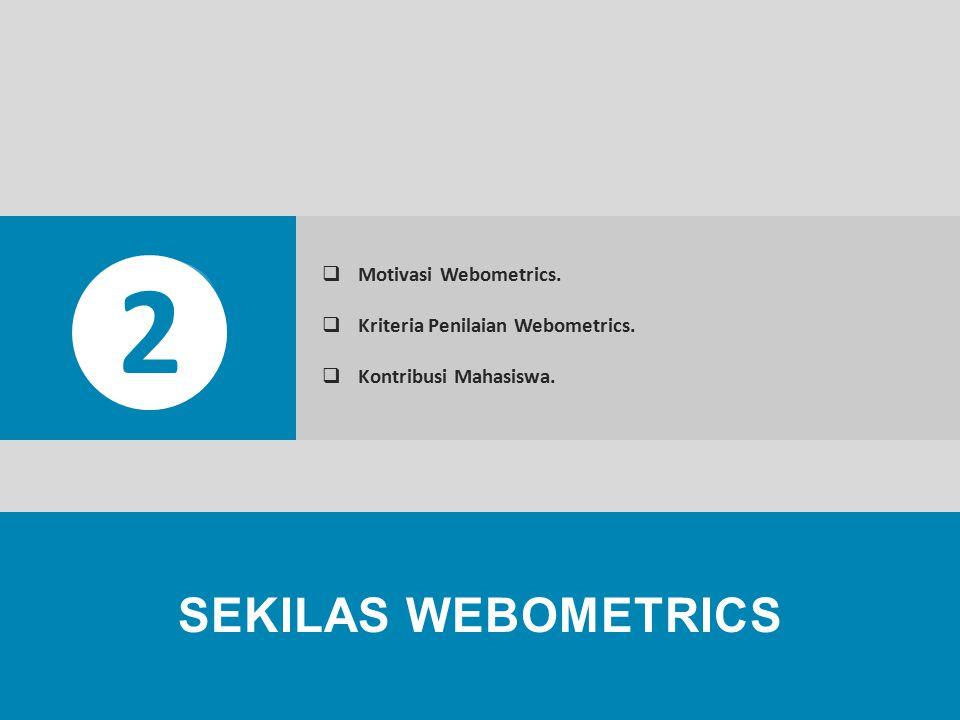 2 Motivasi Webometrics. Kriteria Penilaian Webometrics. Kontribusi Mahasiswa.