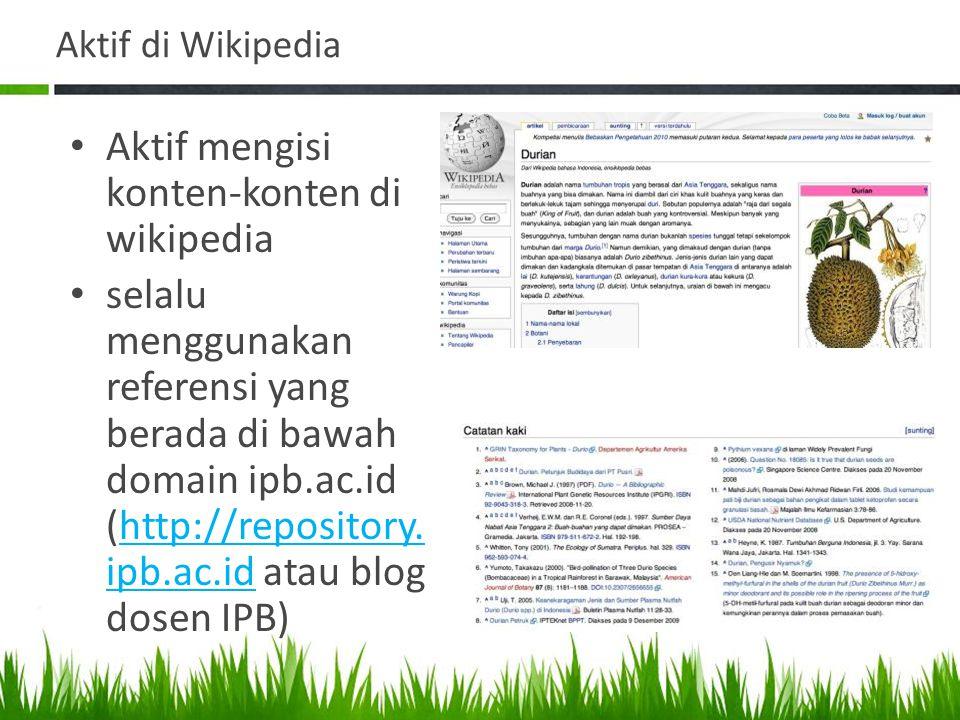 Aktif mengisi konten-konten di wikipedia