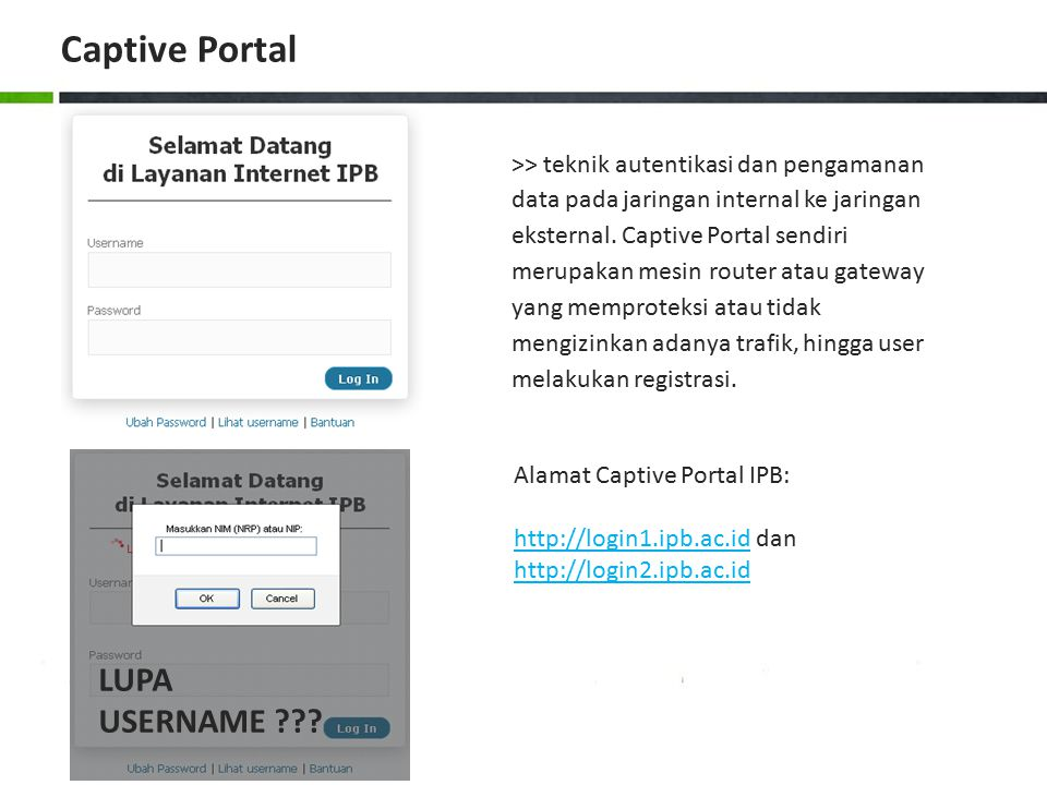 Captive Portal LUPA USERNAME
