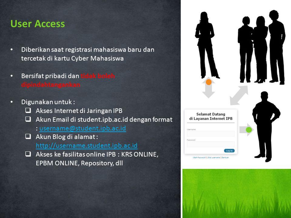 User Access Diberikan saat registrasi mahasiswa baru dan tercetak di kartu Cyber Mahasiswa. Bersifat pribadi dan tidak boleh dipindahtangankan.