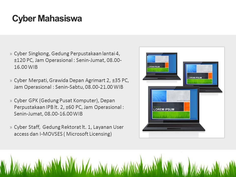 Cyber Mahasiswa Cyber Singkong, Gedung Perpustakaan lantai 4, ±120 PC, Jam Operasional : Senin-Jumat, 08.00-16.00 WIB.