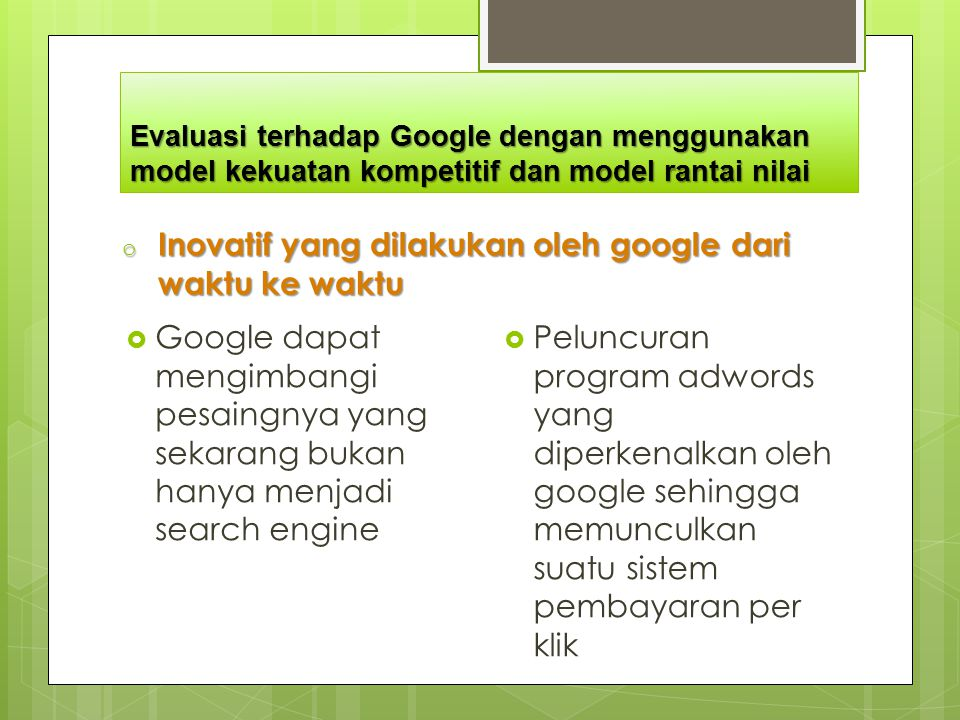 Inovatif yang dilakukan oleh google dari waktu ke waktu