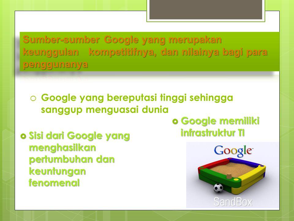 Sumber-sumber Google yang merupakan keunggulan kompetitifnya, dan nilainya bagi para penggunanya
