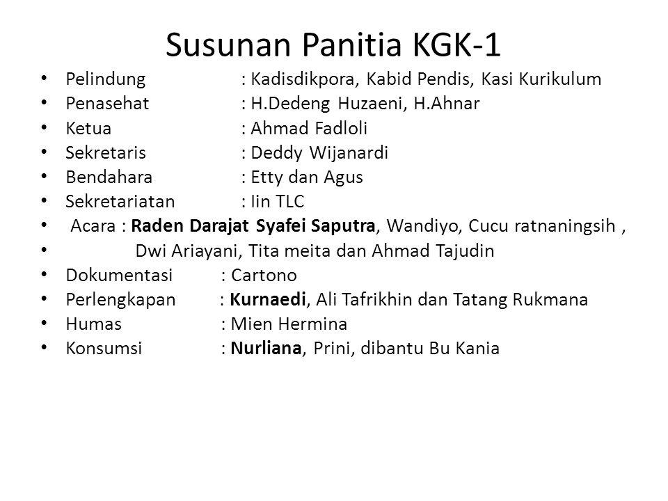 Susunan Panitia KGK-1 Pelindung : Kadisdikpora, Kabid Pendis, Kasi Kurikulum. Penasehat : H.Dedeng Huzaeni, H.Ahnar.