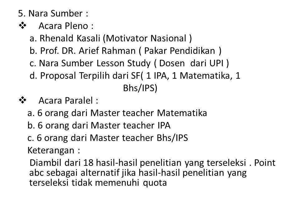 5. Nara Sumber : Acara Pleno : a. Rhenald Kasali (Motivator Nasional ) b. Prof. DR. Arief Rahman ( Pakar Pendidikan )
