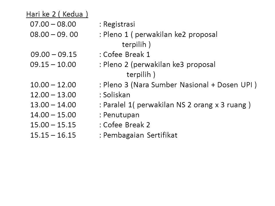 Hari ke 2 ( Kedua ) 07. 00 – 08. 00 : Registrasi 08. 00 – 09