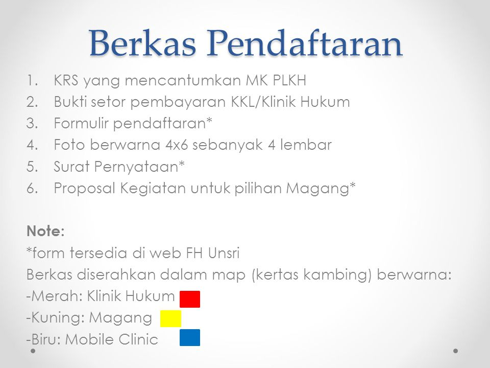 Berkas Pendaftaran KRS yang mencantumkan MK PLKH