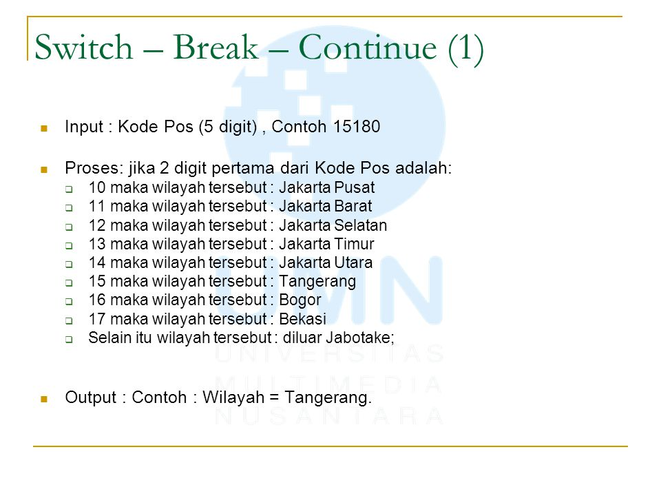 Switch – Break – Continue (1)