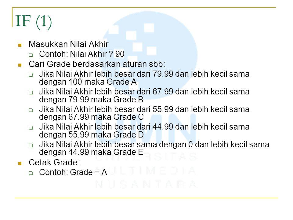 IF (1) Masukkan Nilai Akhir Cari Grade berdasarkan aturan sbb: