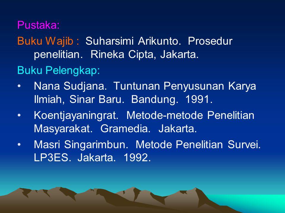 Pustaka: Buku Wajib : Suharsimi Arikunto. Prosedur penelitian. Rineka Cipta, Jakarta. Buku Pelengkap: