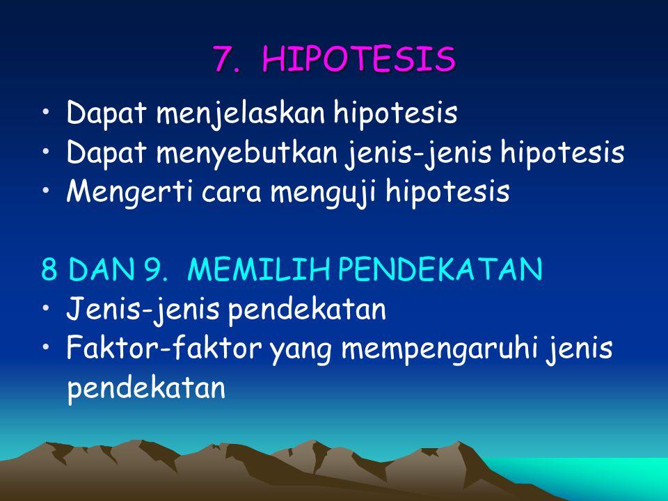 7. HIPOTESIS Dapat menjelaskan hipotesis