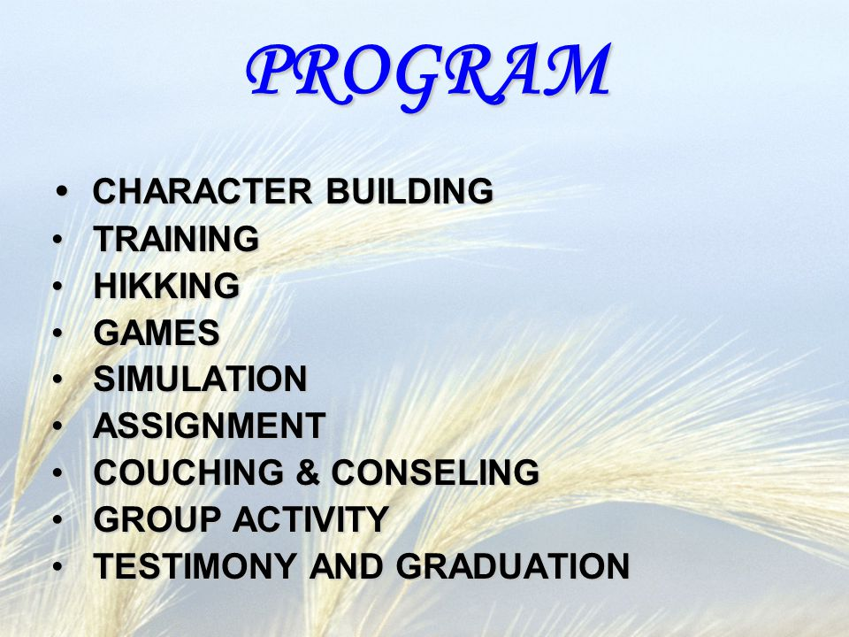 PROGRAM CHARACTER BUILDING TRAINING HIKKING GAMES SIMULATION
