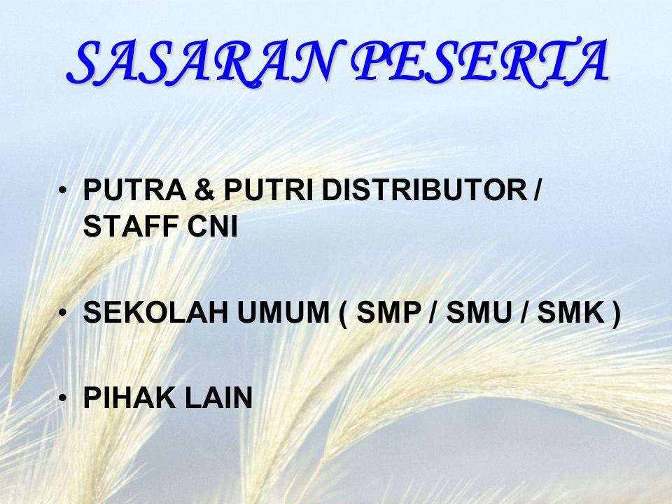 SASARAN PESERTA PUTRA & PUTRI DISTRIBUTOR / STAFF CNI