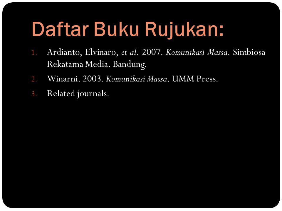 Daftar Buku Rujukan: Ardianto, Elvinaro, et al. 2007. Komunikasi Massa. Simbiosa Rekatama Media. Bandung.