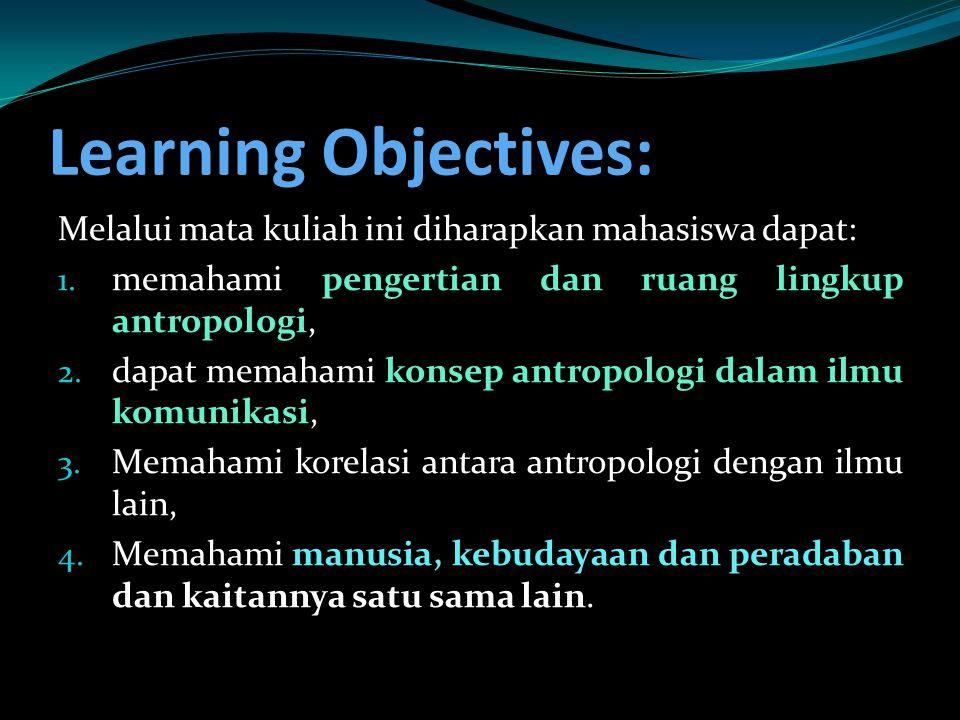 Learning Objectives: Melalui mata kuliah ini diharapkan mahasiswa dapat: memahami pengertian dan ruang lingkup antropologi,