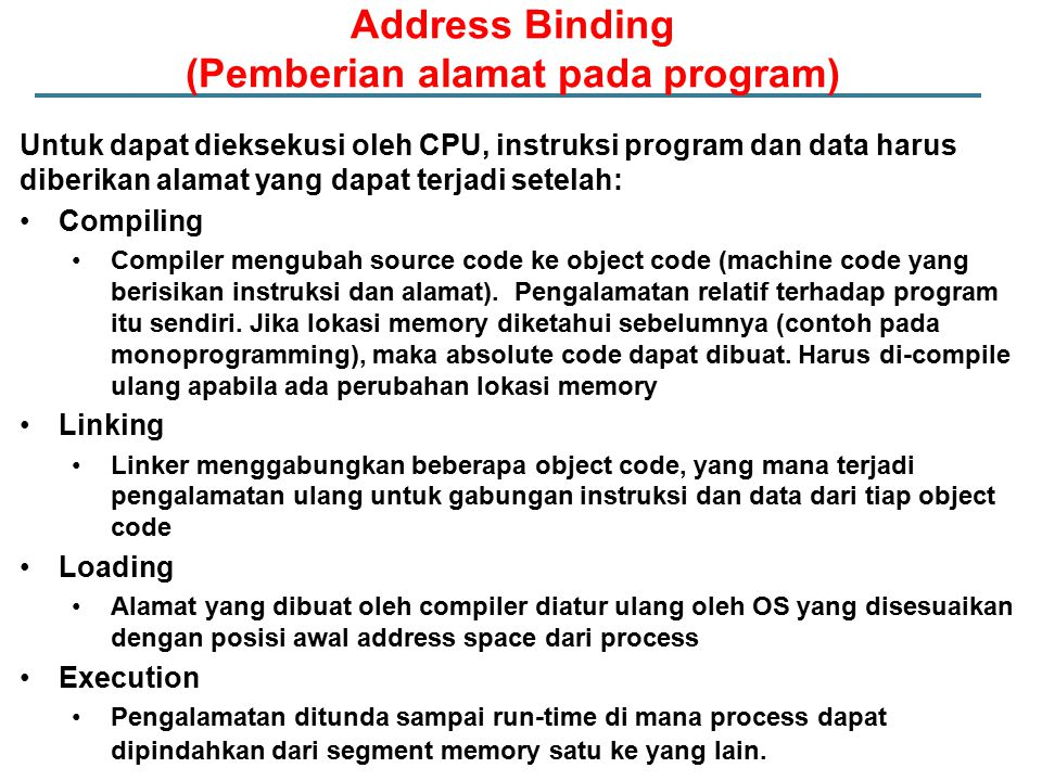 Address Binding (Pemberian alamat pada program)
