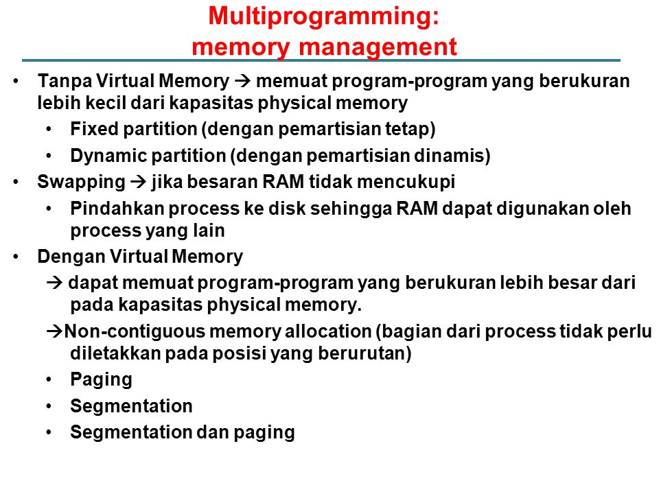 Multiprogramming: memory management