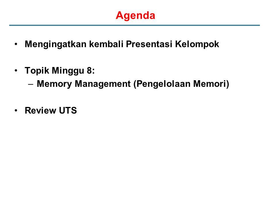 Agenda Mengingatkan kembali Presentasi Kelompok Topik Minggu 8: