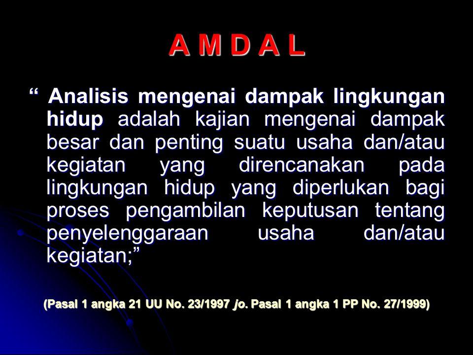 (Pasal 1 angka 21 UU No. 23/1997 jo. Pasal 1 angka 1 PP No. 27/1999)