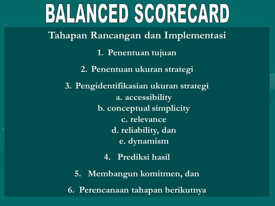 BALANCED SCORECARD Tahapan Rancangan dan Implementasi Penentuan tujuan
