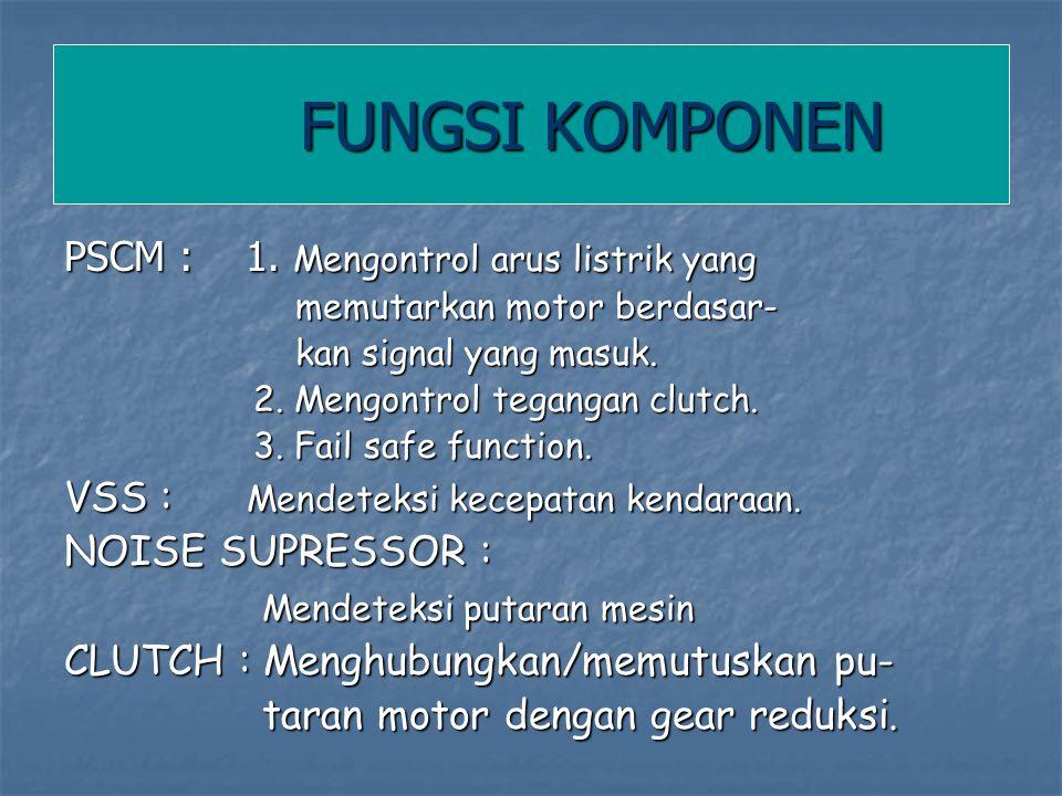 FUNGSI KOMPONEN PSCM : 1. Mengontrol arus listrik yang